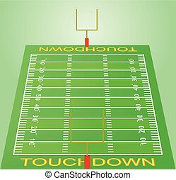 American football field perspective view