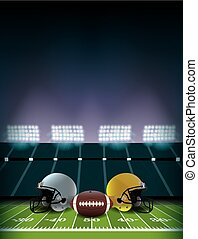 American Football Field Stadium with Helmets and Ball Illustration