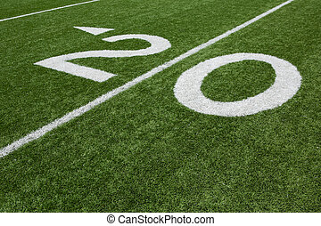 American Football Field Twenty Yard Line