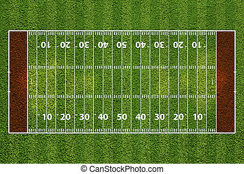 American football field with hash marks and yard lines....
