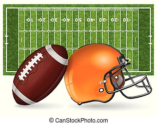 American Football Field with Realistic Ball, Helmet, Line...