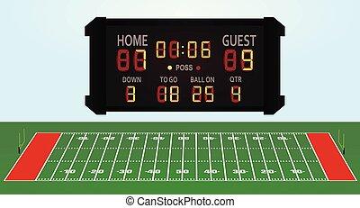 American football field with score board