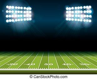 American Football Field with Stadium Lights - An...