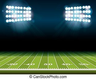 American Football Field with Stadium Lights - An...