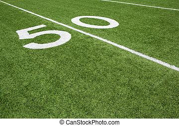 American Football Field Yard Fifty Yard Line - Fifty Yard...
