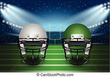 American football final match concept. Silver and green Helmets on field of stadium with spotlight background.