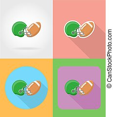 american football flat icons vector illustration