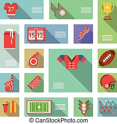 American football flat vector icons