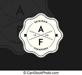 American football gridiron badge white on black