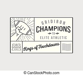 American football gridiron champions badge black on white