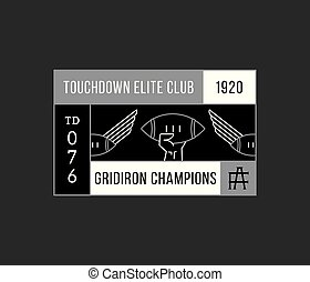 American football gridiron champions white on black