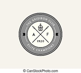 American football gridiron club badge black on white