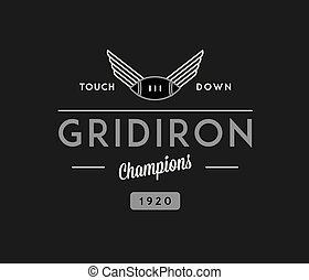 American football gridiron touchdown white on black