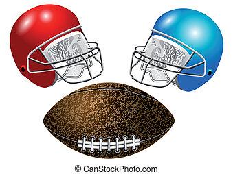 American football, helmet and ball