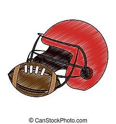 American football helmet and ball scribble