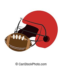 American football helmet and ball