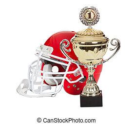 American football helmet and trophy