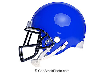 American football helmet cut out - Photo of a blue American...