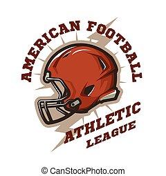 American football helmet emblem. Athletic League