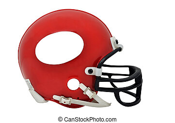 American Football Helmet Isolated - Red American football...