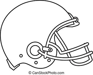 American Football Helmet Line Drawing - Line drawing...