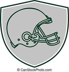American Football Helmet Line Drawing Retro