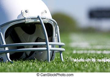 American Football Helmet on Field
