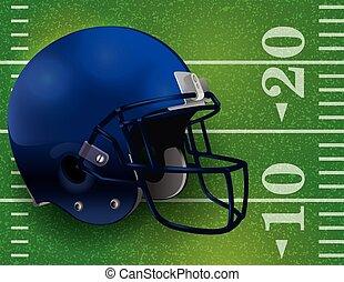 American Football Helmet on Field Illustration - An American...