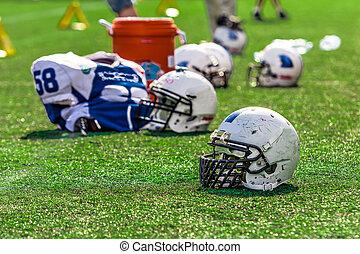 American Football Helmet on the Field