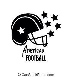 American Football helmet, retro design element for logo, badge vector Illustration on a white background