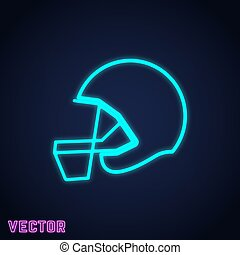 American football helmet sign neon light design