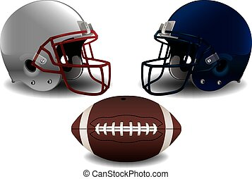 American Football Helmets and Ball