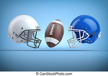 American football helmets and ball. Final match concept. Space for text.