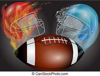 American football, helmets and ball