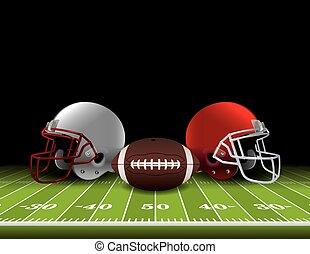 American Football Helmets and Ball on Field - American...