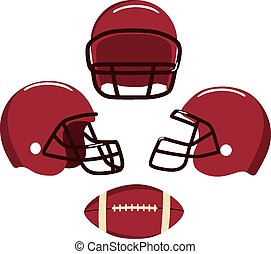 American football helmets and ball.