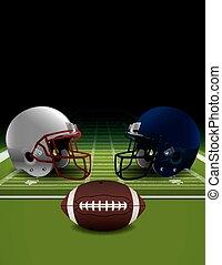 American Football Helmets, Ball, an - An illustration of...