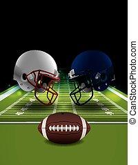 American Football Helmets Clashing