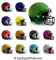 American Football Helmets Illustrat