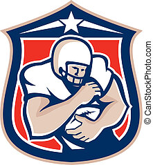 American Football Holding Ball Shield Retro