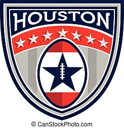 American Football Houston Stars Stripes Crest Retro