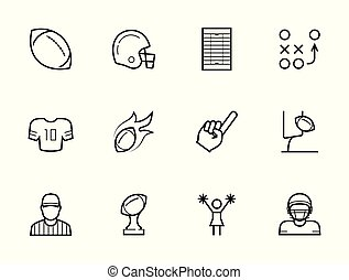 American football icon set in thin line style