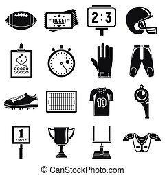 American football icons set, simple style