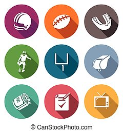 American football Icons Set. Vector Illustration.