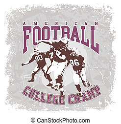 american football - illustration for shirt printed and...