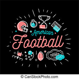American football. illustration in the style of thin lines with flat icons in black and white