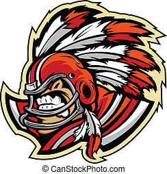 American Football Indian Chief - Graphic Vector Sports lmage...
