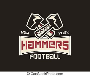 American football label. Hammer logo element innovative and creative inspiration for business company, sport team, university championship etc. Usa sports emblem. Vector