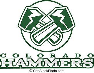 American football label. Hammer logo element innovative and creative inspiration for business company, sport team, university championship etc. Usa sports emblem. Vector