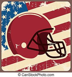 American football label with helmet and flag. Vector